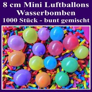 "Mini Luftballons, 8 cm, 3"", Wasserbomben, 1000 Stück, bunt sortiert"