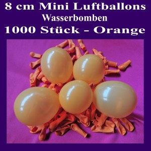 "Mini Luftballons, 8 cm, 3"", Wasserbomben, 1000 Stück, Orange"