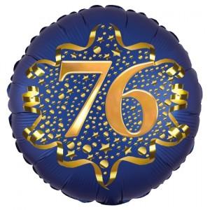 Satin Navy Blue Zahl 76 Luftballon aus Folie zum 76. Geburtstag, 45 cm, Satin Luxe, heliumgefüllt