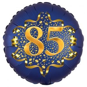 Satin Navy Blue Zahl 85 Luftballon aus Folie zum 85. Geburtstag, 45 cm, Satin Luxe, heliumgefüllt