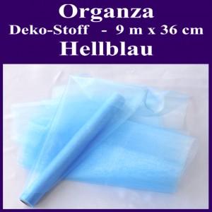 Organza Deko-Stoff, Hellblau, 9 Meter x 36 cm