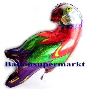 Holografischer Papagei Folienluftballon, ungefüllt