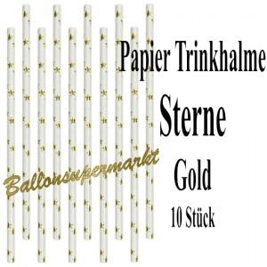 Goldene Sterne Papier-Trinkhalme, 10 Stück