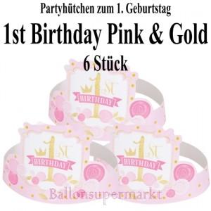 Partyhuetchen 1st Birthday Pink & Gold zum 1. Geburtstag Maedchen
