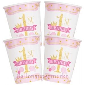 Partybecher zum 1. Geburtstag, Maedchen, 1st Birthday Pink & Gold