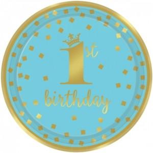 Gold 1st Birthday Blau, 8 Partyteller zum 1. Geburtstag