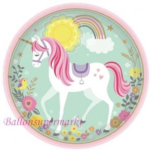 Partyteller Magical Unicorn zum Einhorn Kindergeburtstag