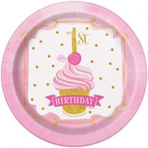 8 Mini-Partyteller 1st Birthday Pink & Gold zum 1. Kindergeburtstag, Maedchen