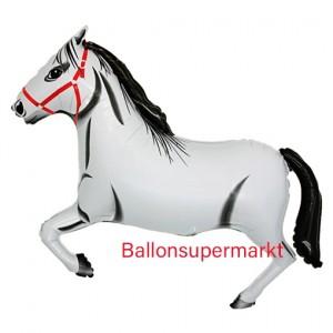 Pferd Luftballon aus Folie ohne Helium, weiss