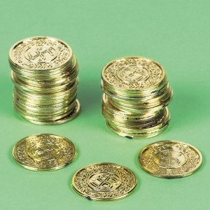 Piratentaler, Goldmünzen, Dekoration Kindergeburtstag