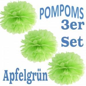 Pompoms Apfelgrün, 3 Stück