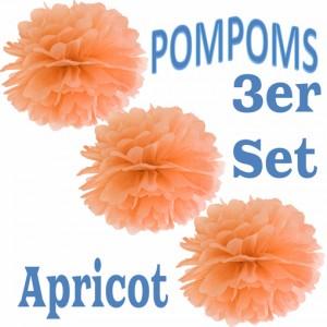 Pompoms Apricot, 3 Stück