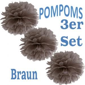 Pompoms Braun, 3 Stück