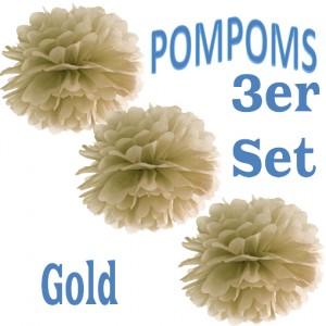 Pompoms Gold, 3 Stück