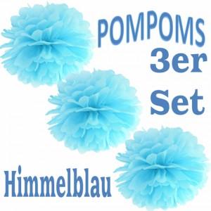 Pompoms Himmelblau, 3 Stück