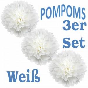 Pompoms Weiss, 3 Stück