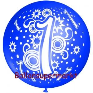Riesen-Luftballon Zahl 1, blau, 75 cm, Riesenballon zum 1. Geburtstag, Zahl 1 auf dem riesigen Ballon