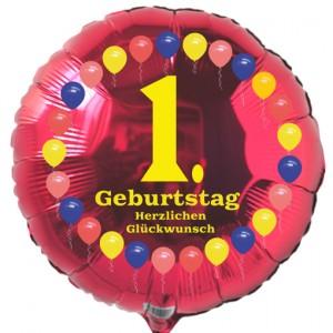 Luftballon aus Folie zum 1. Geburtstag, roter Rundballon, Balloons, Herzlichen Glückwunsch, inklusive Ballongas