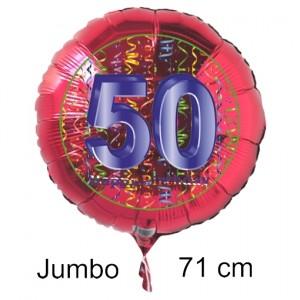 Großer Zahl 50 Luftballon aus Folie zum 50. Geburtstag, 71 cm, Rot/Blau, heliumgefüllt
