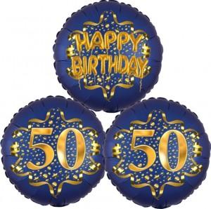 Satin Navy & Gold 50 Happy Birthday, Luftballons aus Folie zum 50. Geburtstag, inklusive Helium