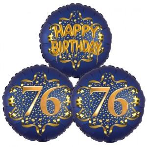 Satin Navy & Gold 76 Happy Birthday, Luftballons aus Folie zum 76. Geburtstag, inklusive Helium