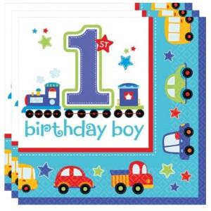 Servietten zum 1. Kindergeburtstag, All Aboard Birthday Boy, Junge