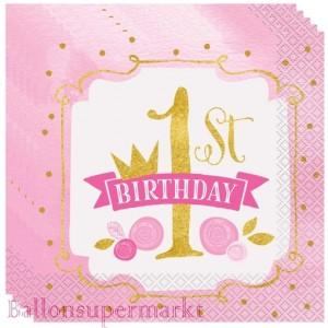 16 Servietten zum 1. Kindergeburtstag, 1st Birthday Pink & Gold, Maedchen
