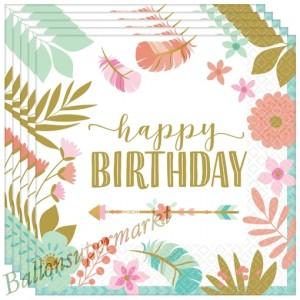 Geburtstagsservietten Boho Happy Birthday