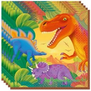 16 Servietten, Dinosaurier zum Kindergeburtstag