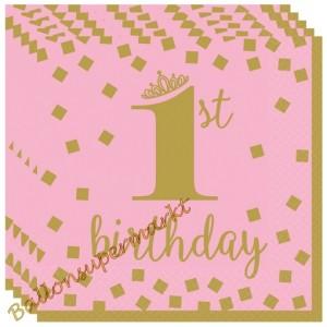 Gold 1st Birthday Rosa ,16 Servietten zum 1. Kindergeburtstag