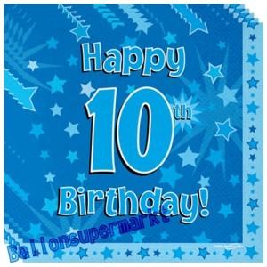 16 Servietten zum 10. Kindergeburtstag, Happy 10th Birthday Blau, Junge