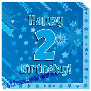 16 Servietten zum 2. Kindergeburtstag, Happy 2nd Birthday Blau, Junge