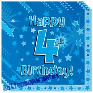 16 Servietten zum 4. Kindergeburtstag, Happy 4th Birthday Blau, Junge
