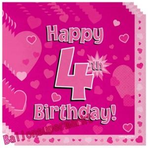 16 Servietten zum 4. Kindergeburtstag, Happy 4th Birthday Pink, Mädchen