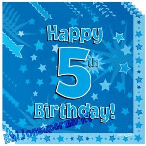 16 Servietten zum 5. Kindergeburtstag, Happy 5th Birthday Blau, Junge