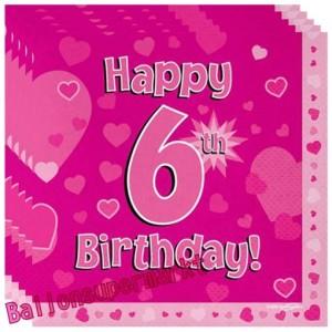 16 Servietten zum 6. Kindergeburtstag, Happy 6th Birthday Pink, Mädchen