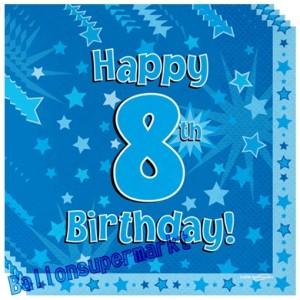 16 Servietten zum 8. Kindergeburtstag, Happy 8th Birthday Blau, Junge