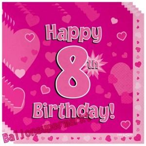 16 Servietten zum 8. Kindergeburtstag, Happy 8th Birthday Pink, Mädchen