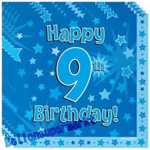 16 Servietten zum 9. Kindergeburtstag, Happy 9th Birthday Blau, Junge