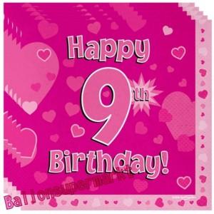 16 Servietten zum 9. Kindergeburtstag, Happy 9th Birthday Pink, Mädchen