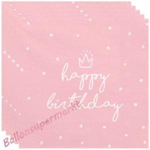 Geburtstagsservietten Happy Birthday, Rosa