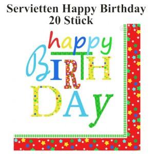 Servietten Happy Birthday zum Geburtstag, 3-lagig, 20 Stück