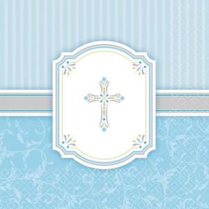 Servietten Kommunion, hellblau, Junge, Kreuz und Ornamente
