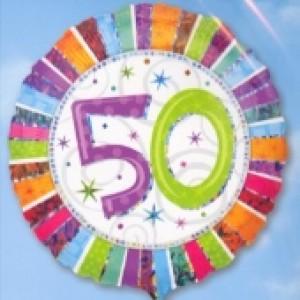 Folienballon Geburtstag 50., Birthday Prismatic (heliumgefüllt)