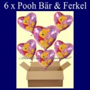 Puuh Bär mit Ferkel Luftballons mit Helium, Kindergeburtstag Geschenke, 6 Stück