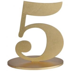 Tischaufsteller Zahl 5 in Gold
