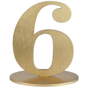Tischaufsteller Zahl 6 in Gold