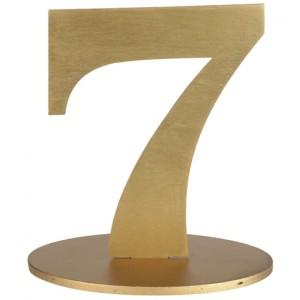 Tischaufsteller Zahl 7 in Gold