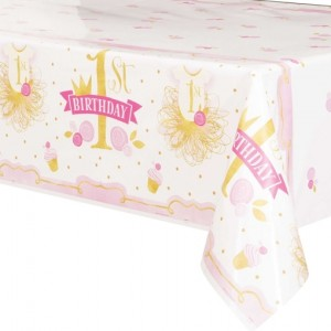 Tischdecke zum 1. Geburtstag, Maedchen, 1st Birthday Pink & Gold