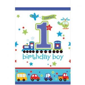 Tischdecke zum 1. Geburtstag, Junge, All Aboard Birthday Boy